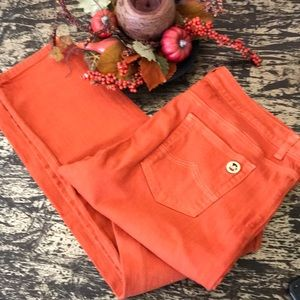 Michael Korns Pumpkin Colored Straight Leg Jeans